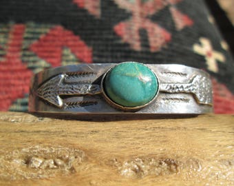 Native American Turquoise and Sterling Silver Arrows Cuff Bracelet