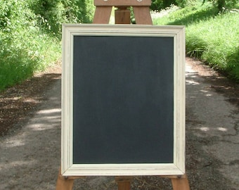 Medium sized black board or chalk board, painted and distressed in 'Old Ochre' colour vintage frame I19