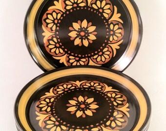 Vintage Mikasa Majorca Lodi Salad Plates. Set of Four Brown, Gold and Orange Flower Power. 1970's,  Retro, Mod, Boho, Tuscan Kitchen.