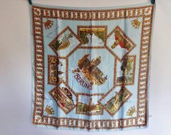 "Vintage Souvenir scarf Berlin  67cm x 67cm / 26.3"" x 26.3"""