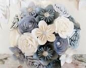 Paper Flower wedding Bouquet origami bridal alternative silver grey lemon white winter christmas new years sparkle