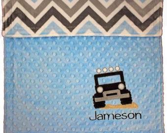 Personalized Baby Jeep Blanket, Minky Blue & Grey Chevron Jeep Blanket