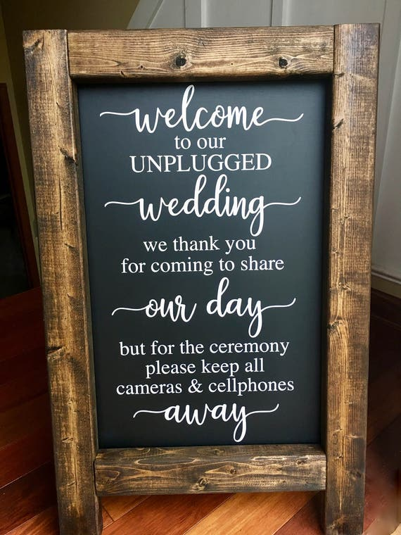 unplugged wedding welcome wedding chalkboard easel sign