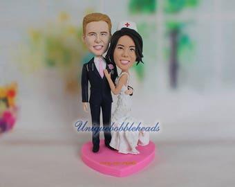 nurse wedding cake toppers, custom wedding cake topper, personalized cake topper look like you, wedding bobbleheads