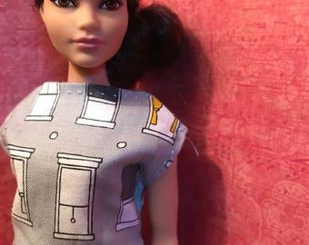 HautePoppet window print dress for curvy size barbie/lammily dolls