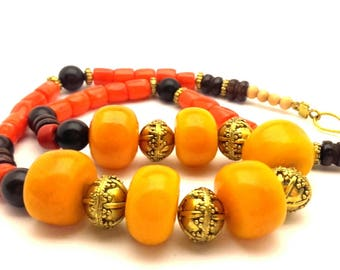 Morocco Necklace Tribal Vintage Amber Resin Clay Orange Red Coral Black Wooden Metal Beads Ethnic Style