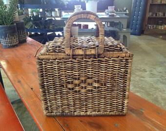 Pretty Woven Wicker Picnic or Storage Basket