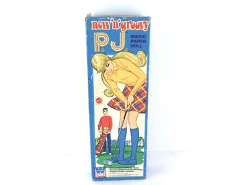 1971 New 'n' Groovy P.J. Whitman Paper Dolls, Some Cut and Some Uncut, Box in Good Vintage Condition