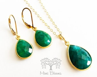 SALE Emerald Necklace Gold, Gemstone Necklace, Jewelry Set, emerald earrings, emerald necklace, emerald birthstone set, May Gift