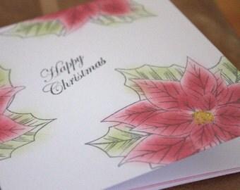 3 x Poinsetta Christmas Card