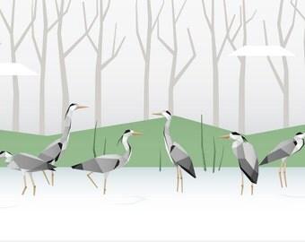 Herons and lake - green