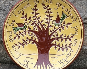 """Tree of Life """"To Love"""" Plate - Pennsylvania German Redware -  SG521"""