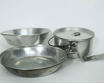 Vintage Boy Scouts of America Aluminum Mess Kit, Pot Pan Bowl