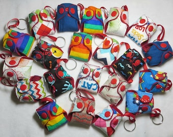 Cloth Diaper Key Chain gift pack lot of 5, choose BOY, GIRL, GN, cloth diaper keychain lot
