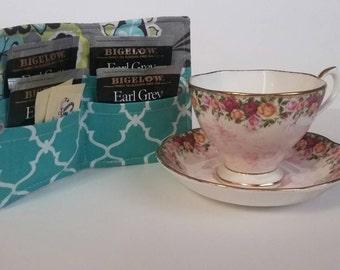 Tea Bag Wallet, Tea Bag Holder,Tea Wallet,  Tea Bag Storage, Tea Bag Caddy, Travel Tea Bag Holder, Tea Bag Case,  Gray Star Flower