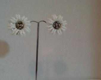 Made in Germany White Milk Glass Center Rhinestones Clip on Earrings Daisy Like Flower