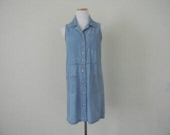 FREE usa SHIPPING vintage womens denim shirt dress/ cotton dress/ sleeveless button dress/ 1990s size small