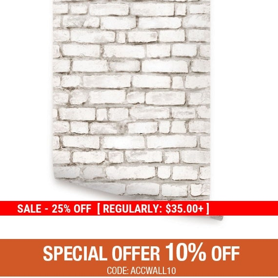 Black friday sale white brick wallpaper aged by accentuwall for Brick wallpaper sale