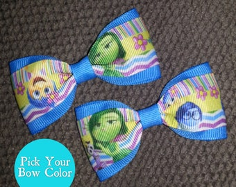Joy Sadness Anger Fear Disgust Inside Out Handmade Pigtail Bow Set