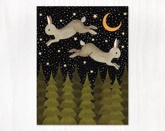 midnight hare postcard