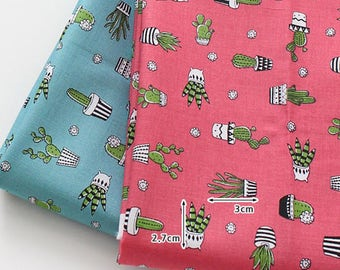 """Cotton Fabric Cactus Fabric by the Yard 44"""" Wide cozy Green Cactus"""