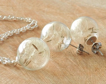 Dandelion Ear Studs and Necklace, Jewelry Set, Stainless Steel Earrings, Gift, Wedding