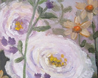 White Roses, original oil painting, ACEO