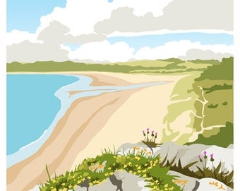 Oxwich Bay, Gower Peninsula, South Wales. Travel Poster A4, A3, A2.