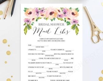 Bridal Shower Mad Libs - Bridal Shower Game - Wedding Shower - Wild Flower - Print at Home - Instant Download