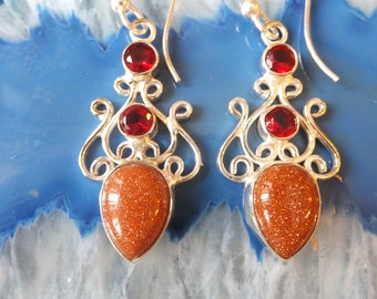 GoldStone, Garnet and Sterling Silver Earrings