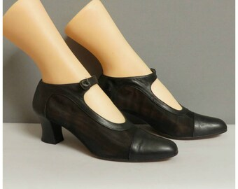 Vintage 1920s style mary jane black shoes 37,5