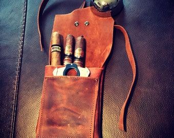 Black or Tan Premium Oil Tanned Leather Cigar Carrier