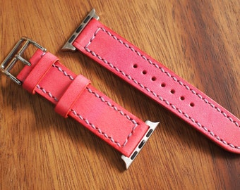 Pink i watch Leather Watch Strap (38mm Dial)