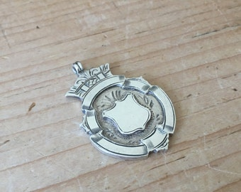 Vintage Art Deco Silver Fob Medal Empty Cartouche Walker & Hall 1929