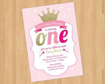 Printable Princess Birthday Invitation - First Birthday - 5 x 7