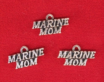 """5pc """"Marine mom"""" charms in silver style (BC1176)"""