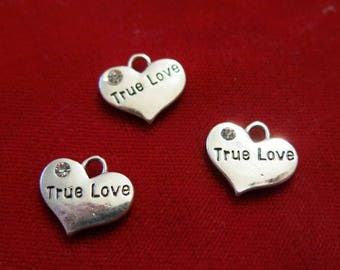 """BULK! 15pc """"True love"""" charms in antique silver style (BC1231B)"""