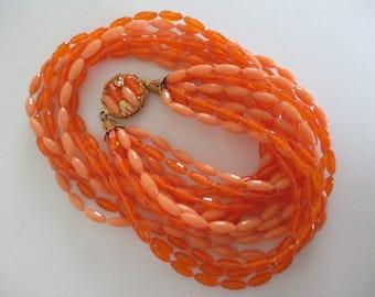 Vintage Multi Strand Necklace Bright Orange Plastic Beads Retro Free Shipping