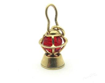 Vintage 3D Lantern Oil Lamp Red Bead 14k Yellow Gold WELLS Charm