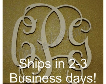 DISCOUNTED 18 inch Vine Connected Wooden Monogram Fast Ship - Wedding, Home, Nursery - SALE ITEM