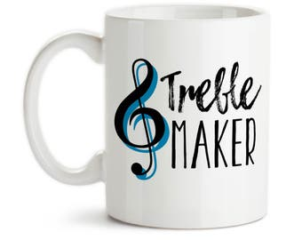 Coffee Mug, Treble Maker, Music Music, Teacher, Music Lover, Pianoist Piano Guitar, Treble Clef, Humor Trouble, Gift Idea, Large Coffee Cup
