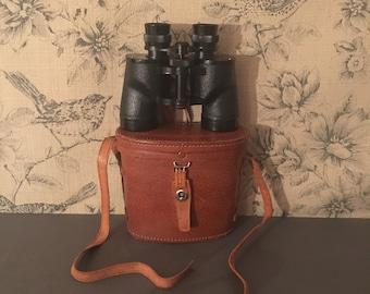 Vintage Black Stellar Binoculars with Original Leather Case. Made in Japan