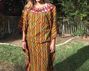 African dress, long African dress, maxi dress, yellow, burgundy, green, medium