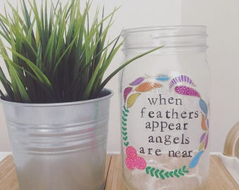 Feathers | Miscarriage, Pregnancy loss, Stillbirth, Child loss, Death, Memorial Jar, Candle