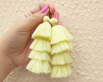 Regina Yellow Boho Earrings / Yellow Tassel Earrings / Gold Plated Brass / Cotton Tassel Dangle Handmade Earrings