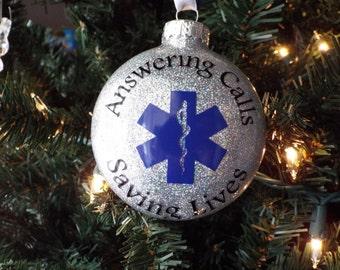 Personalized EMT Ornament - EMS Ornament - Paramedic Christmas Ornament - Glittered Ornament - Personalized Christmas Ornament - Paramedics