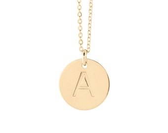 Gold 1/2 inch Charm Necklace / Personalized Disc Necklace / Gold Silver or Rose Disc Necklace