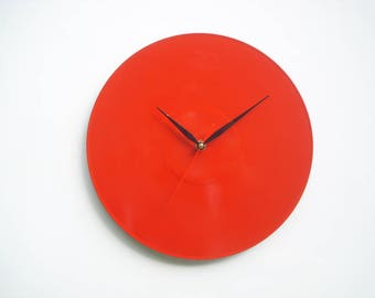 Modern red color wall clock suitable for all types of made of vinyl furniture, handcrafted built mechanism Precision Quartz (SILENT)