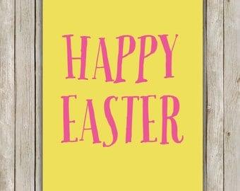 8x10 Happy Easter Printable Art, Typography Art Poster, Typography Print, Pastel Art Poster, Easter Wall Art Decor, Instant Download