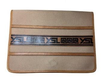 Authentic Yves Saint Laurent YSL Canvas Leather Vintage Tribal Clutch Bag